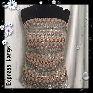 Express Multicolor Sequin Strapless Top Zipper NWT